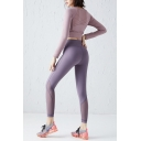 Workout Womens Co-ord Mesh Patchwork Beauty Back Naked Feeling Skinny Fitted High Waist Leggings Round Neck Long Sleeve T-Shirt Set