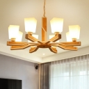 Bedroom Chandelier Modern Wood Pendant Light Kit with Trapezoid Opaline Glass Shade