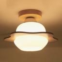 1-Head Foyer Flush Light Modern Wood Semi Flush Ceiling Light with Floral Milk Glass Shade