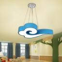 Blue Cloud Ceiling Hang Lamp Cartoon Acrylic LED Chandelier Pendant for Kindergarten