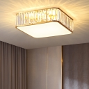 Simple Style Square Ceiling Lamp Optical Crystal Bedroom Flush Mount Light in Gold