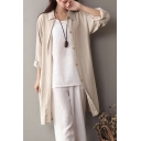 Fancy Girls Shirt Plain Long Sleeve Spread Collar Button Up Longline Relaxed Shirt in Apricot