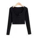 Trendy Womens T-Shirt Plain Color Rib Knit Cropped Slim Fit Split Neck Long Sleeve T-Shirt