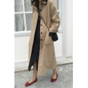 Womens Trench Coat Trendy Plain Color Split-Cuff Single Breasted Turn down Collar Long Sleeve Relaxed Long Trench Coat