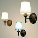 Tapered Shape Bedside Wall Lamp Country Style Fabric 1-Bulb Wall Sconce Lighting