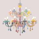 Colorful Glass Candlestick Chandelier Childrens Pink Suspension Light for Bedroom