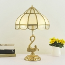 1 Head Gourd Shaped Table Light Traditional Bronze Frosted Glass Nightstand Lamp with Swan Decor