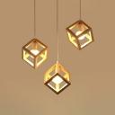 Modern Cubic Cage Pendant Lighting Wooden 3-Bulb Dining Room Multi Ceiling Light