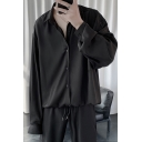 Trendy Mens Shirt Solid Color Button down Loose Fit Long Sleeve Turn-down Collar Shirt
