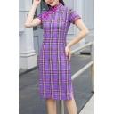 Ladies Pretty Dress Checkered Print Frog Button Short Sleeve Mandarin Collar Mid Shift Dress