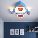 Blue Rocket Flushmount Light Cartoon LED Iron Ceiling Flush Light for Kids Bedroom