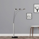 Fishing Rod Metal Standing Floor Light Modernist 3-Light Silver Finish Floor Lamp