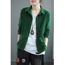Simple Womens Jacket Corduroy Long Sleeve Spread Collar Button-up Relaxed Plain Jacket