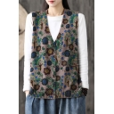 Leisure Womens Vest Knit Floral Printed V-neck Button Up Relaxed Vest