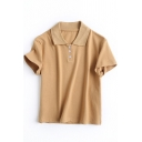 Fashionable Womens Polo Shirt Solid Color Button Detail Short Sleeve Slim Fit Turn down Collar Cropped Polo Shirt