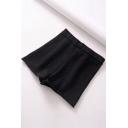Womens Shorts Stylish Plain Color Elastic High Rise Rolled-Hem Knitted Shorts