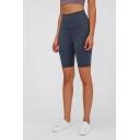 Gym Womens Shorts Solid Color Butt Lifting Tummy-Control Half Length High Rise Yoga Shorts