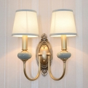 Vintage Tapered Wall Mount Lamp Fabric Sconce Light Fixture with Arc Arm in Brass