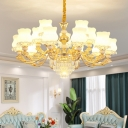 Flower Living Room Chandelier Antique Style Opal Glass Gold Suspension Light with Crystal Decoration