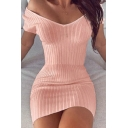 Edgy Womens Dress Ribbed Off Shoulder Solid Color Mini Tight Dress in Gray