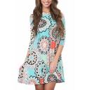 Trendy Womens Dress Flower Printed Long Sleeve Round Neck Short Swing Dress