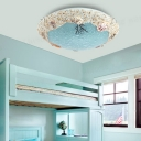 Mediterranean Bowl Shaped Ceiling Light Stained Glass Kids Room LED Flushmount with Sea Beach Design