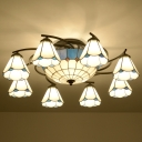 Floral Semi Flush Mount Chandelier Handcrafted Stained Glass Tiffany Ceiling Lamp for Living Room
