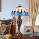 Coffee 1 Head Nightstand Lamp Mediterranean Stained Glass Bowl Table Light for Bedroom