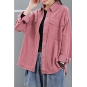 Leisure Womens Shirt Solid Color Long Sleeve Spread Collar Button-up Chest Pockets Loose Shirt