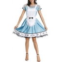 Fashionable Womens Co-ord Contrast Lace Patchwork Mini Slim Fit Short Sleeve Maid Dress Set