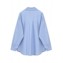 Basic Shirt Womens Plain Color Curved Hem Button up Spread Collar Relaxed Fit Long Sleeve Bottoming Shirt