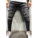 Cool Popular Mens Mid Rise Polka Dot Ripped Ankle Length Skinny Jeans in Black