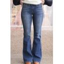 Basic Dark Blue Low Waist Full Length Fitted Flared Jeans for Women