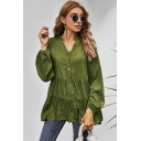 Womens Shirt Trendy Solid Color Tiered Smock Hem Button up V Neck Loose Fit Long Sleeve Shirt