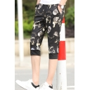 Men's Summer New Fashion Cool Skull Printed Drawstring Waist Black Casual Shorts