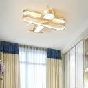 Biplane LED Ceiling Lighting Minimalist Metal Childrens Room Flush Mount Light Fixture