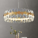Gold Circle Chandelier Pendant Light Minimalistic Crystal LED Hanging Lamp for Dining Room