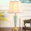 Fabric Scallop Bell Nightstand Lamp Traditional 1 Head Living Room Table Light in Blue