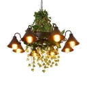 8-Head Iron Hanging Lamp Industrial Black Conical Living Room Chandelier Light with Green Ivy Deco