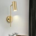 Swivelable Tube Shaped Reading Wall Light Postmodern Metal LED Sconce Lamp for Bedroom