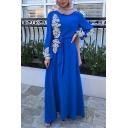 Womens Arabic Dress Applique Decoration Long Sleeve Crew Neck Bow-tied Waist Maxi A-line Dress