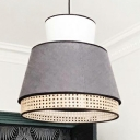 Nordic Tapered Hanging Pendant Light Metal 1-Light Bedroom Ceiling Lamp with Bamboo Mesh Edge