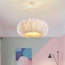 Donut Shaped Suspension Light Minimalist Feather Bedroom Pendant Lighting Fixture