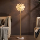 Layered Hexagonal Floor Lamp Postmodern Crystal 3-Light Gold Standing Light for Living Room