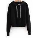 Womens Hoodie Stylish Solid Color Glitter-Drawstring Relaxed Fit Long Sleeve Knitted Hoodie