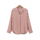 Striped Print Long Sleeve V Neck Button Down Loose Shirt