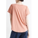 Womens T-Shirt Athletic Solid Color Mesh Patchwork Quick Dry Loose Fit Round Neck Short Sleeve Yoga T-Shirt