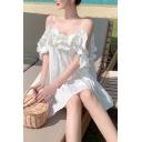 Womens Dress Stylish Plain Color Ruffle Trim Cold Shoulder Short Sleeve Loose Mini Beach Dress
