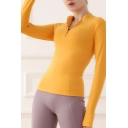 Sports Womens T-Shirt Solid Color Quick Dry Skinny Fit Long Sleeve Zipper Collar Yoga Tee Jacket