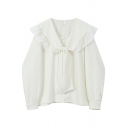 Chic Womens Shirt Solid Color Tie Doll Collar Oversize Long Sleeve Shirt in Apricot
